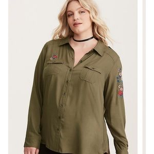 Torrid Embroidered Twill Button Down Shirt
